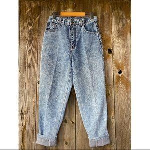VINTAGE high waist acid wash baggy pleated jeans